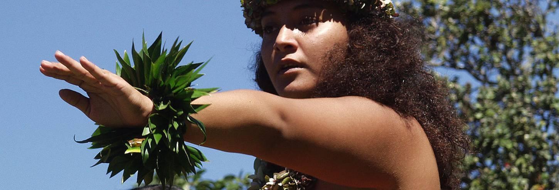 Hula kahiko performance at the pa hula in Hawaii Volcanoes National Park photo by Ron Ardis