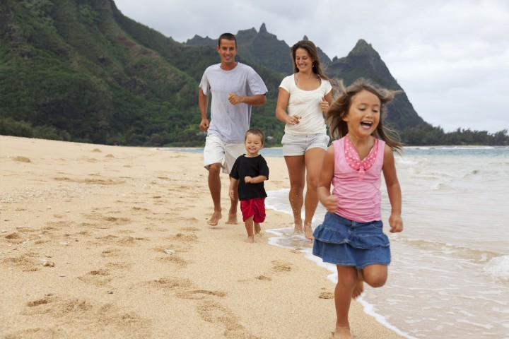 Family on a hawaiian beach